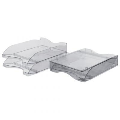 Лотки горизонтальные для бумаг СТАММ, набор 2 шт., Люкс, тонированные серые, ЛТ602 одноразовые лотки гриль для жарки мяса 2 шт