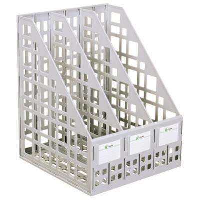 Лоток вертикальный для бумаг СТАММ, ширина 240 мм, 3 отделения, сетчатый, сборный, серый, ЛТ80 цена