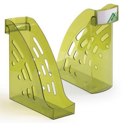 Лоток вертикальный для бумаг СТАММ Торнадо, ширина 95 мм, тонированный зеленый лайм, ЛТ406 цена