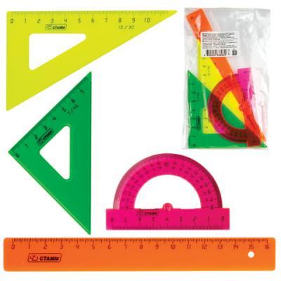 Набор чертежный малый СТАММ (линейка 16 см, 2 угольника, транспортир), цветной, НГ12 набор малый цветной линейка 16 см 2 треугольника мал транспортир