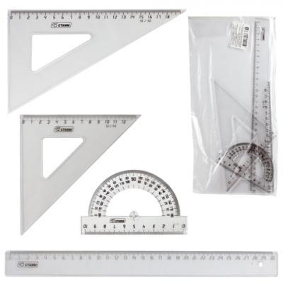 Набор чертежный большой СТАММ (линейка 30 см, 2 угольника, транспортир), прозрачный, НГ15 цена и фото