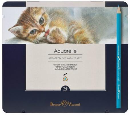 bruno visconti канцелярский набор bruno visconti котенок с шариком 3 предмета Набор цветных карандашей Bruno Visconti Aquarelle 24 шт 176 мм акварельные