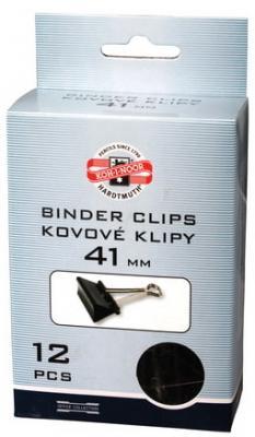 Зажимы для бумаг KOH-I-NOOR, комплект 12 шт., 41 мм, на 200 листов, черные, картонная коробка, подвес, 9600300141KS недорого