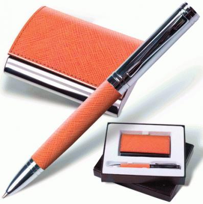 Набор GALANT Prestige Collection: ручка, визитница, оранжевый, фактурная кожа, подарочная коробка, 141375