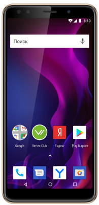 Смартфон Vertex Impress Zeon (3G), золотой смартфон vertex impress zeon 4g grafit