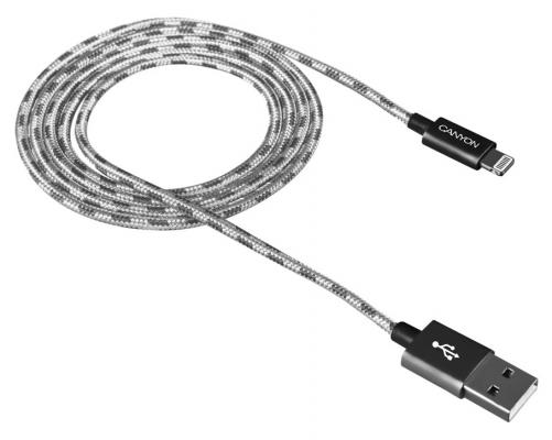 Кабель Lightning 1м Canyon CNE-CFI3DG круглый серый