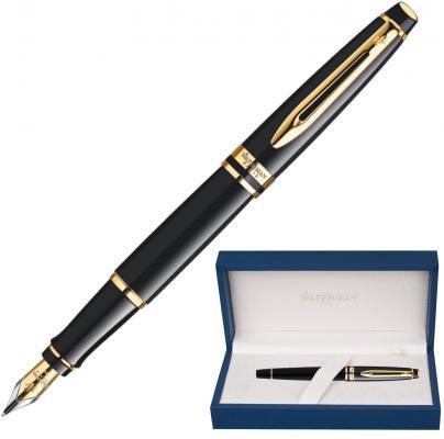 Ручка подарочная перьевая WATERMAN Expert 3 Black Lacquer GT, черный лак, позолоченные детали, синяя, S0951640 waterman ручка перьевая expert black gt синяя корпус черный золото