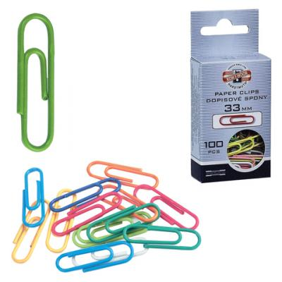 Скрепки KOH-I-NOOR, 33 мм, цветные, 100 шт., в картонной коробке с подвесом, 9600100233KS скрепки цветные