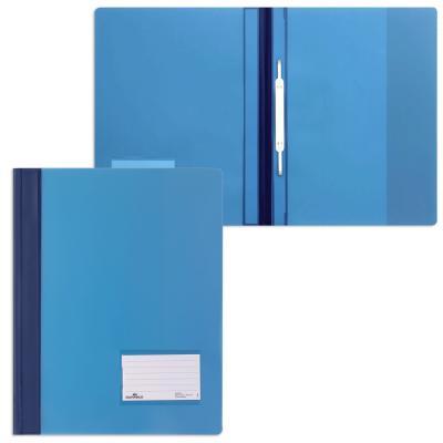 Скоросшиватель пластиковый DURABLE (Германия), широкий, карман для визитки, полупрозрачный, синий, 2680-06