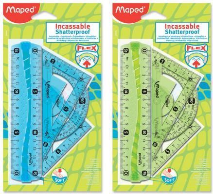Фото - Набор чертежный малый MAPED Flex Mini (линейка 15 см, 2 угольника, транспортир), ассорти, блистер, 244069 линейка maped twist n flex гибкая 15 см