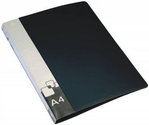 Папка на 4 кольцах БЮРОКРАТ, 27 мм, черная, внутренний карман, до 150 листов, 0,7 мм, 0827/4Rblck