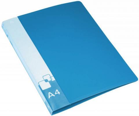 Папка на 4 кольцах БЮРОКРАТ, 27 мм, синяя, внутренний карман, до 150 листов, 0,7 мм, 0827/4Rblu
