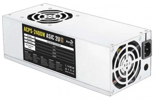 Блок питания Aerocool 2400W Retail для майнинга ACPS-2400W ASIC 2U 350mm (PCI-E 6P + PCI-E 6P) *10, fan 8cm x2, размер 230 x 150 x 86 mm блок питания accord atx 1000w gold acc 1000w 80g 80 gold 24 8 4 4pin apfc 140mm fan 7xsata rtl