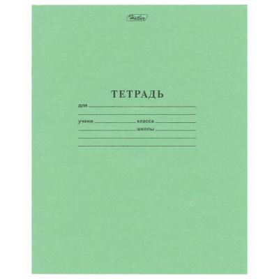 Тетрадь школьная Hatber Зелёная обложка 12 листов узкая линия скрепка