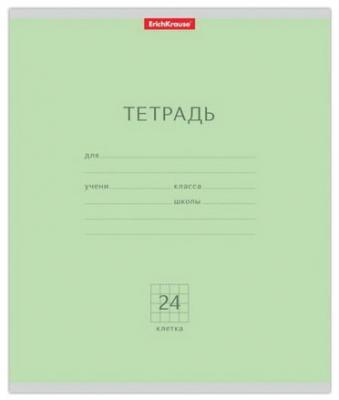 Тетрадь 24 л., ERICH KRAUSE, клетка, обложка мелованный картон, Классика зеленая, 35324
