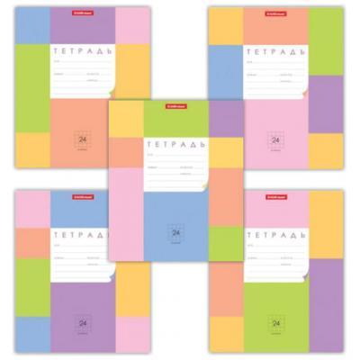 Тетрадь 24 л., ERICH KRAUSE, клетка, обложка мелованный картон, Цветные квадраты, 40026 цена