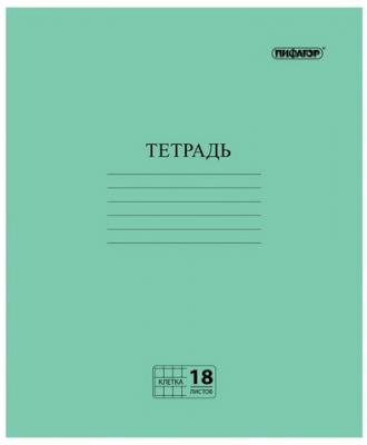 """Тетрадь ПИФАГОР """"Зелёная обложка"""" 12 листов клетка скрепка"""