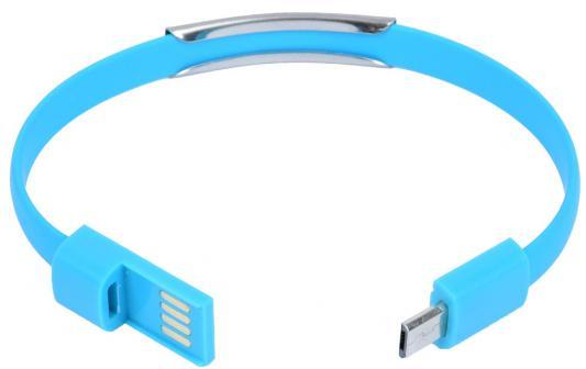 Кабель-браслет microUSB Gmini GM-WDC-200BL плоский голубой
