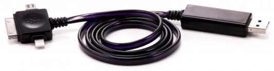 Кабель Gmini GM-MEL400FLBP, светящийся 3 в 1, 1м, чёрный кабель + розовая подсветка