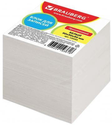 Блок для записей BRAUBERG 90х90х90 мм белый 129203 бумага для записей многоцветная index 90х90х90