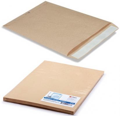 Конверт-пакет С4 плоский, комплект 25 шт., 229х324 мм, отрывная полоса, крафт-бумага, коричневый, на 90 листов, 161150.25 эффективное дели 3423 5 крафт конверт почтовое отделение стандартный конверт 220 110мм 20 листов одного пакета