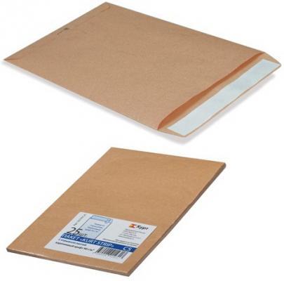 Конверт-пакет В4 плоский, комплект 25 шт., 250х353 мм, отрывная полоса, крафт-бумага, коричневый, на 140 листов, 380090.25 эффективное дели 3423 5 крафт конверт почтовое отделение стандартный конверт 220 110мм 20 листов одного пакета