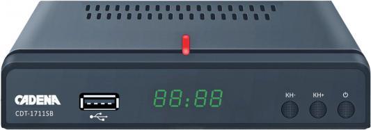 Ресивер DVB-T2 Cadena CDT-1711SB черный недорго, оригинальная цена