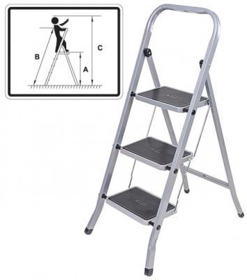 FIT РОС Лестница-стремянка стальная, 2 широкие ступени, Н=83 см, вес 3,45 кг [65381] цена