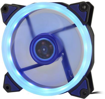 CROWN Вентилятор для компьютерного корпуса CMCF-12025S-1231 (120*120*25мм;Синее LED кольцо;1500 об/мин;35CFM;20Дб;Подшипник скольжения;3pin+MOLEX(папа-мама) 40+10см) вентилятор id cooling no 4010 sd 3pin molex 40 40 10 мм 4500об мин 12vdc