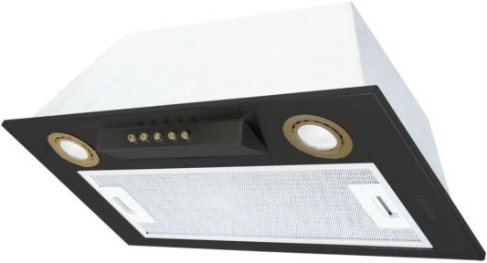 Встраиваемые вытяжки Korting/ Полностью встраиваемая, в шкаф 60см, механическое управление, 3 режима, 650 м3/ч., алюминиевый жировой фильтр, LED освещение, ур.шума 54 дб, цвет - черный, кнопки и ободки ламп освещения - бронза