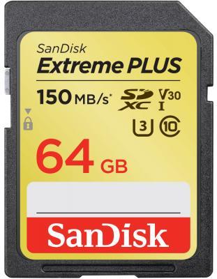 Фото - Флеш-накопитель Sandisk Карта памяти Sandisk Extreme Plus SDXC Card 64GB, 150MB/s V30 UHS-I U3 карта памяти sandisk extreme plus sdxc card 64gb 150mb s v30 uhs i u3