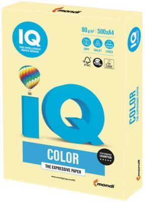 Бумага IQ color, А4, 80 г/м2, 500 л., пастель, желтая, YE23 еж стайл линейка color animals желтая утка 18 5 см