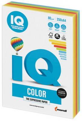 Бумага IQ color, А4, 80 г/м2, 250 л. (5 цв. x 50 л.), цветная интенсив RB02 цена