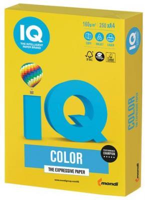 Бумага IQ color, А4, 160 г/м2, 250 л., интенсив, ярко-желтая, IG50 еж стайл линейка color animals желтая утка 18 5 см