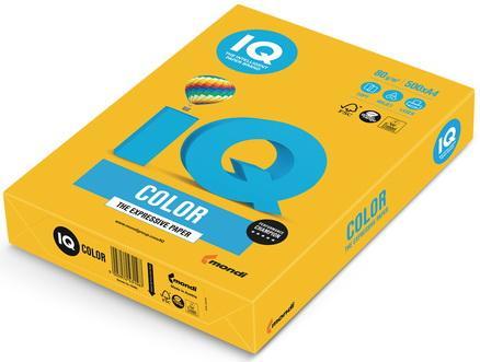 Бумага IQ color, А4, 80 г/м2, 500 л., интенсив, солнечно-желтая, SY40 еж стайл линейка color animals желтая утка 18 5 см