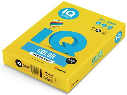 Бумага IQ color, А4, 80 г/м2, 500 л., интенсив, ярко-желтая, IG50 еж стайл линейка color animals желтая утка 18 5 см