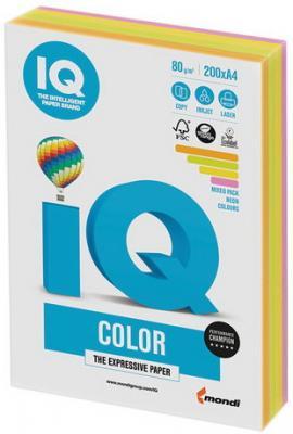 Бумага IQ color, А4, 80 г/м2, 200 л. (4 цв. x 50 л.), цветная неон RB04 цв tsl 78281 50 г