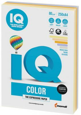 Бумага IQ color, А4, 80 г/м2, 250 л. (5 цв. х 50 л.), цветная, умеренно-интенсив (тренд) RB03 цв sdc 01164 50 г