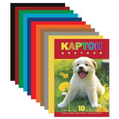 Фото - Набор цветного картона Hatber Белый щенок A4 10 листов набор цветного картона hatber creative a4 10 листов 126945