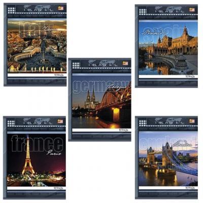 Тетрадь 96 л., HATBER VK, клетка, обложка мелованный картон, Traveler (Путешествие), 96Т5влС1, T69707 набор тетрадей hatber классика 12т5в2