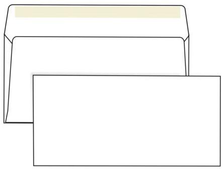 демисезонные конверты Конверты Е65, комплект 1000 шт., клей декстрин, белые, 110х220 мм