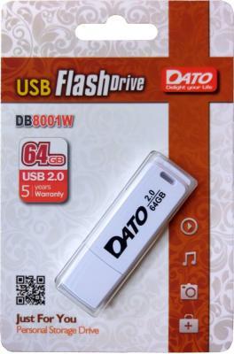 Фото - Флешка 64Gb Dato DB8001W-64G USB 2.0 белый флешка usb dato ds7012 64гб usb2 0 черный [ds7012k 64g]