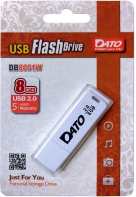 Фото - Флеш Диск Dato 8Gb DB8001 DB8001W-08G USB2.0 белый сетевое хранилище nas qnap tvs 951x 8g 9 bay nas intel celeron 3865u dual core 1 8 ghz 8gb ddr4 2 x 4gb sodimm ram