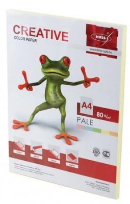 Бумага CREATIVE color (Креатив), А4, 80 г/м2, 100 л., пастель желтая, БПpr-100ж еж стайл линейка color animals желтая утка 18 5 см