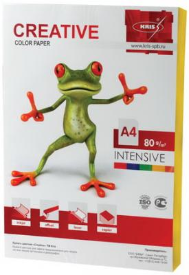 Бумага CREATIVE color (Креатив), А4, 80 г/м2, 100 л., интенсив желтая, БИpr-100ж цена и фото