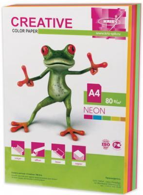 Бумага CREATIVE color (Креатив), А4, 80 г/м2, 250 л. (5 цв. х 50 л.), цветная неон, БНpr-250r цена