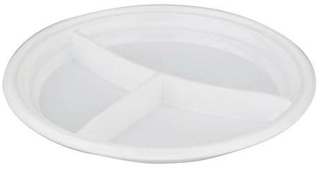 """Одноразовая тарелка """"Эконом"""", 1 шт., плоская, d - 205 мм, 3 секции, полистирол (ПС), белая, СТИРОЛПЛАСТ, Т-3.205.21"""