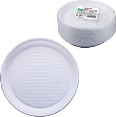 Одноразовые тарелки Стандарт, десертные d=170 мм, комплект 100 шт., ЛАЙМА, белые, ПП, для холодного/горячего, 602648