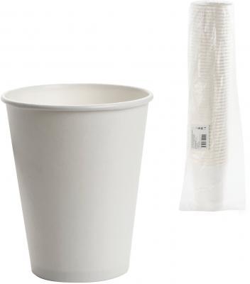 Одноразовые стаканы ФОРМАЦИЯ, комплект 50 шт., бумажные, однослойные, 300 мл, белые, для холодного/горячего, HB90-430-0000