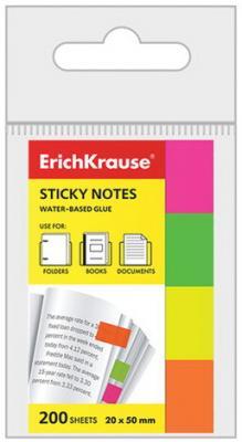 цены Закладки самоклеящиеся ERICH KRAUSE НЕОН бумажные, 20*50 мм, 4 цвета*50 листов, 7324